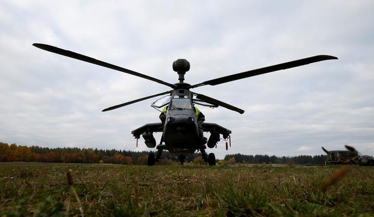 German Air Force Tiger attack helicopter by German Bundeswehr is pictured at the U.S. military base in Grafenwoehr, Germany, October 26, 2016. REUTERS/Michaela Rehle