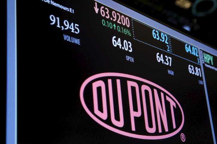 The Dupont logo is displayed on a board above the floor of the New York Stock Exchange shortly after the opening bell in New York, U.S. on December 22, 2015. REUTERS/Lucas Jackson/File Photo