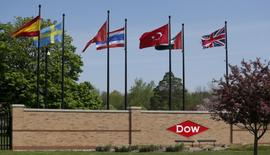 The Dow logo is seen at the entrance to Dow Chemical headquarters in Midland, Michigan May 14, 2015.    REUTERS/Rebecca Cook/File Photo