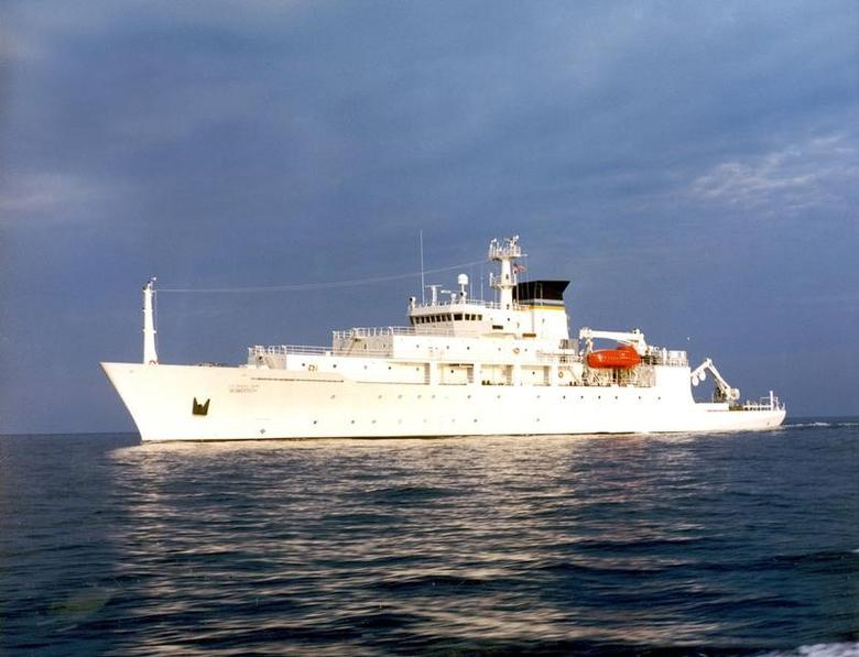 The oceanographic survey ship, USNS Bowditch, is shown September 20, 2002, which deployed an underwater drone seized by a Chinese Navy warship in international waters in South China Sea, December 16, 2016.   Courtesy U.S. Navy/Handout via REUTERS