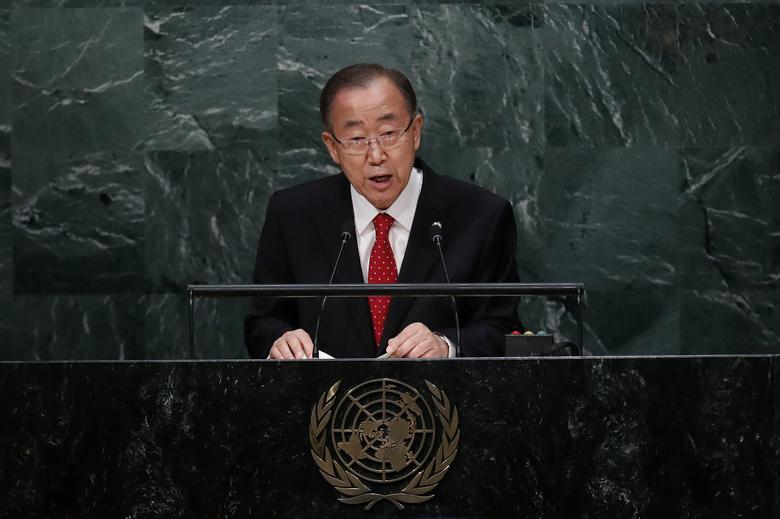 United Nations Secretary General Ban Ki-moon speaks before the swearing-in of Secretary-General-designate Mr. Antonio Guterres of Portugal at UN headquarters in New York, U.S., December 12, 2016. REUTERS/Lucas Jackson