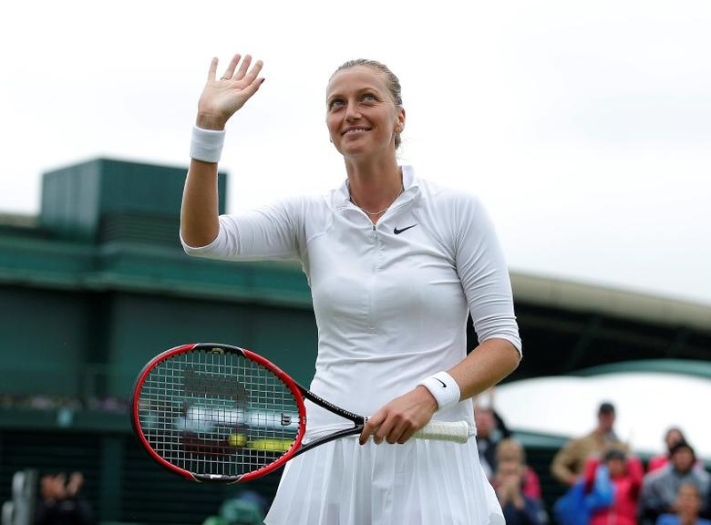 Britain Tennis - Wimbledon - All England Lawn Tennis & Croquet Club, Wimbledon, England - 29/6/16 Czech Republic's Petra Kvitova celebrates winning her match against Romania's Sorana Cirstea REUTERS/Andrew Couldridge/File Photo