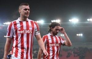 Britain Football Soccer - Stoke City v Leicester City - Premier League - bet365 Stadium - 17/12/16 Stoke City's Ryan Shawcross (L) and Joe Allen look dejected after the game  Reuters / Anthony Devlin Livepic