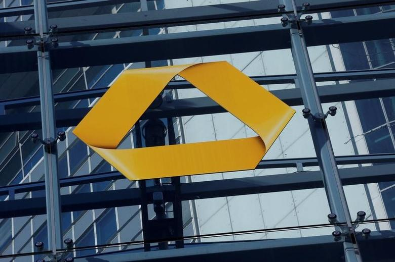 A Commerzbank logo is pictured in Frankfurt, Germany, February 12, 2016.      REUTERS/Ralph Orlowski/File Photo