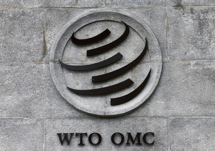 A World Trade Organization (WTO) logo is pictured on their headquarters in Geneva, Switzerland, June 3, 2016. REUTERS/Denis Balibouse/Files