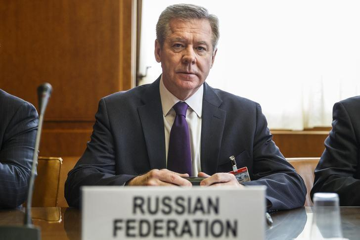 Russian Deputy Minister of Foreign Affairs Gennady Gatilov sits after arriving for a trilateral meeting with UN-Arab League envoy for Syria Lakhdar Brahimi and U.S. Under Secretary of State Wendy Sherman during the second round of negotiations between the Syrian government and the opposition at the European headquarters of the United Nations, in Geneva, Switzerland, February 13, 2014. REUTERS/Valentin Flauraud/Pool/Files
