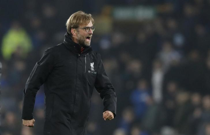 Britain Football Soccer - Everton v Liverpool - Premier League - Goodison Park - 19/12/16 Liverpool manager Juergen Klopp celebrates after the match Action Images via Reuters / Carl Recine Livepic