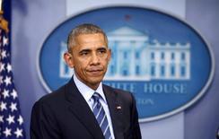 الرئيس الأمريكي باراك أوباما يتحدث في البيت الأبيض بواشنطن يوم 16 ديسمبر كانون الأول 2016. تصوير: كارلوس باريا - رويترز.