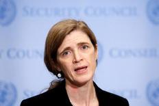 السفيرة الأمريكية لدى الأمم المتحدة سمانثا باور تتحدث في أعقاب قرار لمجلس الأمن بشأن حلب يوم 19 ديسمبر كانون الأول 2016. تصوير أندرو كيلي - رويترز.