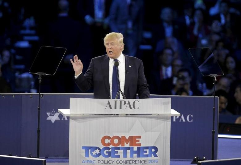 FILE PHOTO -  Republican U.S. presidential candidate Donald Trump addresses the American Israel Public Affairs Committee (AIPAC) afternoon general session in Washington March 21, 2016.  REUTERS/Joshua Roberts/File Photo