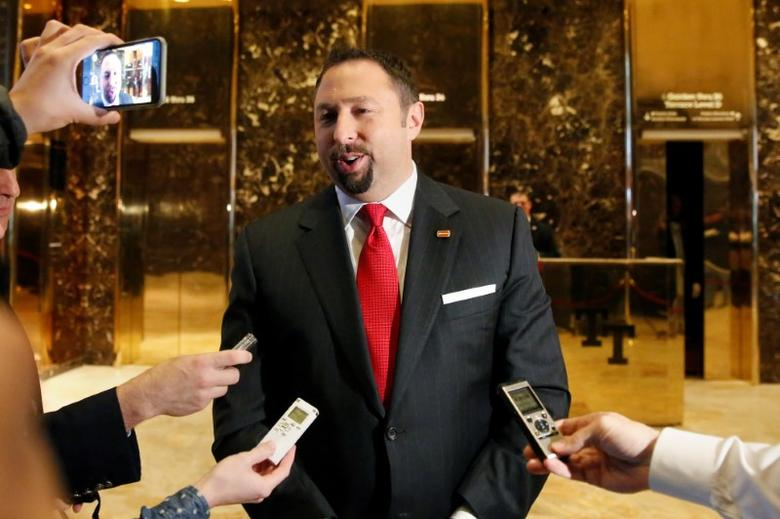 Communications adviser Jason Miller speaks to the media in the lobby of Republican president-elect Donald Trump at Trump Tower in New York, November 16, 2016.  REUTERS/Shannon Stapleton