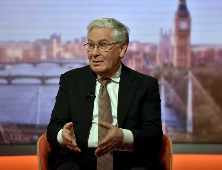 Former Bank of England Governor, Mervyn King, is seen appearing on the BBC's Andrew Marr Show in this photograph received via the BBC in London, Britain March 6, 2016. REUTERS/Jeff Overs/BBC/Handout via Reuters