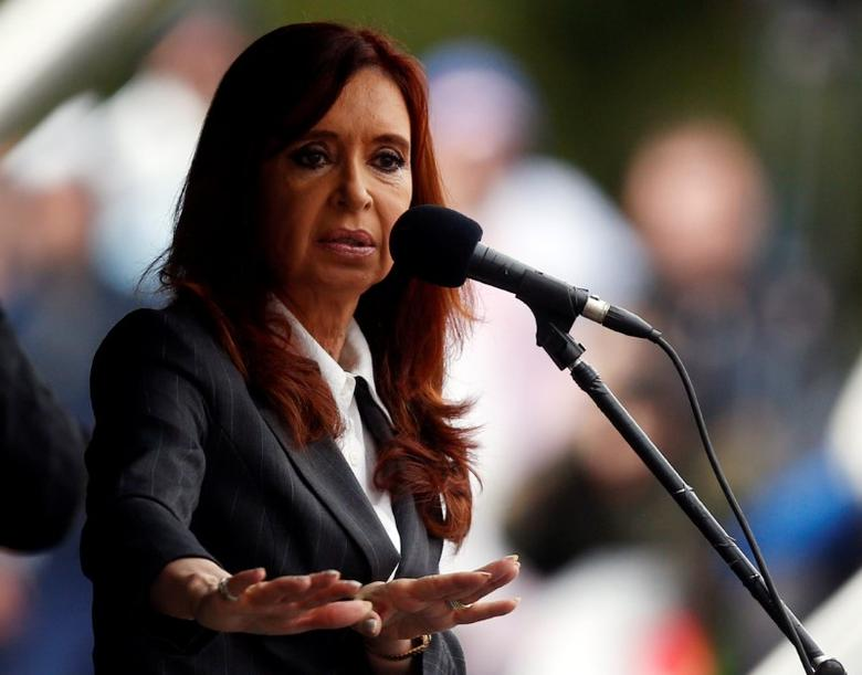 Former Argentine President Cristina Fernandez de Kirchner speaks during a rally outside a Justice building in Buenos Aires, Argentina, April 13, 2016. Picture taken April 13, 2016. REUTERS/Marcos Brindicci