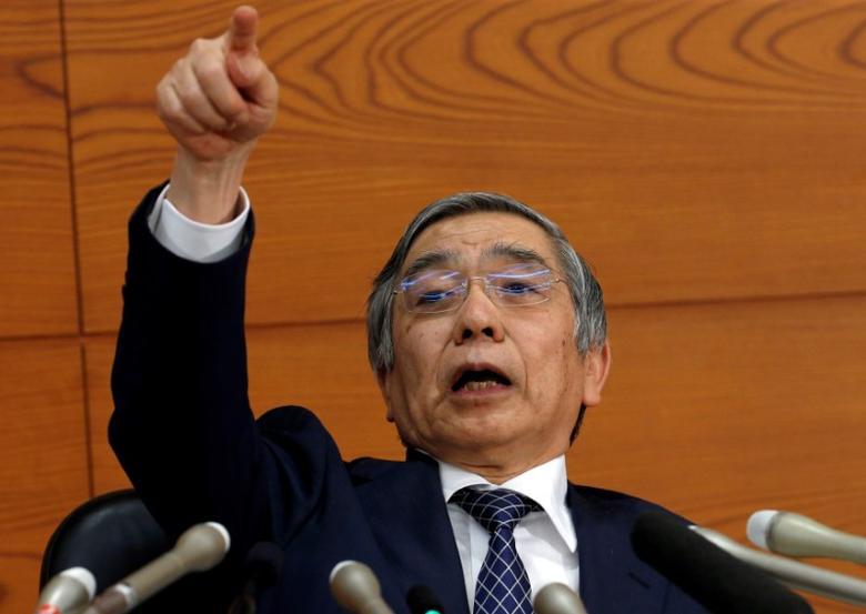Bank of Japan (BOJ) Governor Haruhiko Kuroda gestures during a news conference at the BOJ headquarters in Tokyo, Japan November 1, 2016. REUTERS/Kim Kyung-Hoon/File Photo