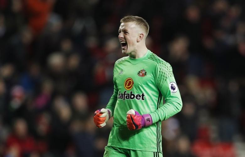 Sunderland's Jordan Pickford celebrates after the game Action Images via Reuters / Lee Smith