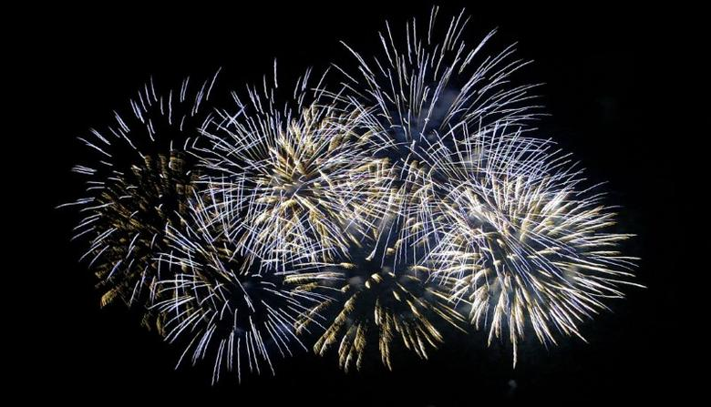 Fireworks from team United Arab Emirates light up the sky during the last day of the first World Pyro Olympics in Manila December 30, 2005. REUTERS/Cheryl Ravelo