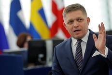 Slovakia's Prime Minister Robert Fico addresses the European Parliament during a debate in Strasbourg, France, December 13, 2016.   REUTERS/Vincent Kessler