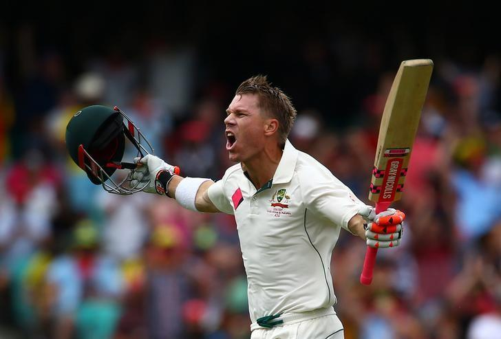 Cricket - Australia v Pakistan - Third Test cricket match - Sydney Cricket Ground, Sydney, Australia - 3/1/17 Australia's David Warner celebrates after reaching his century.    REUTERS/David Gray