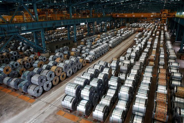 Rolls of steel are stacked inside a factory in Kaohsiung, southern Taiwan August 26, 2016. REUTERS/Tyrone Siu/Files