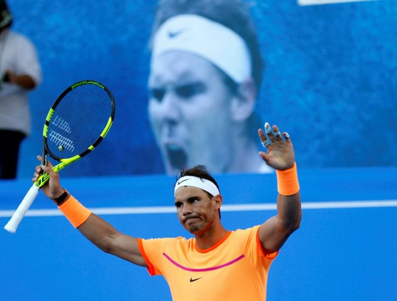 Rafael Nadal of Spain celebrates. REUTERS/Ahmed Jadallah