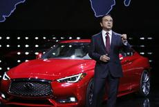 Carlos Ghosn, Chairman and CEO of Nissan, introduces the 2017 Infiniti Q60 at the North American International Auto Show in Detroit, Michigan, January 11, 2016.  REUTERS/Gary Cameron
