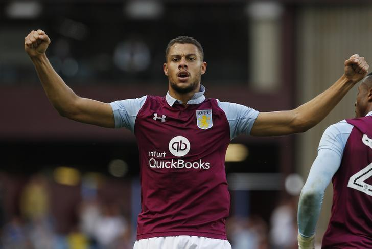 Britain Soccer Football - Aston Villa v Nottingham Forest - Sky Bet Championship - Villa Park - 11/9/16Aston Villa's Rudy Gestede celebrates scoring their second goal Mandatory Credit: Action Images / Craig BroughLivepic/File Photo