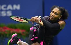 Sept 8, 2016; New York, NY, USA; Serena Williams of the USA plays against Karolina Pliskova of the Czech Republic on day eleven of the 2016 U.S. Open tennis tournament at USTA Billie Jean King National Tennis Center. Mandatory Credit: Robert Deutsch-USA TODAY Sports