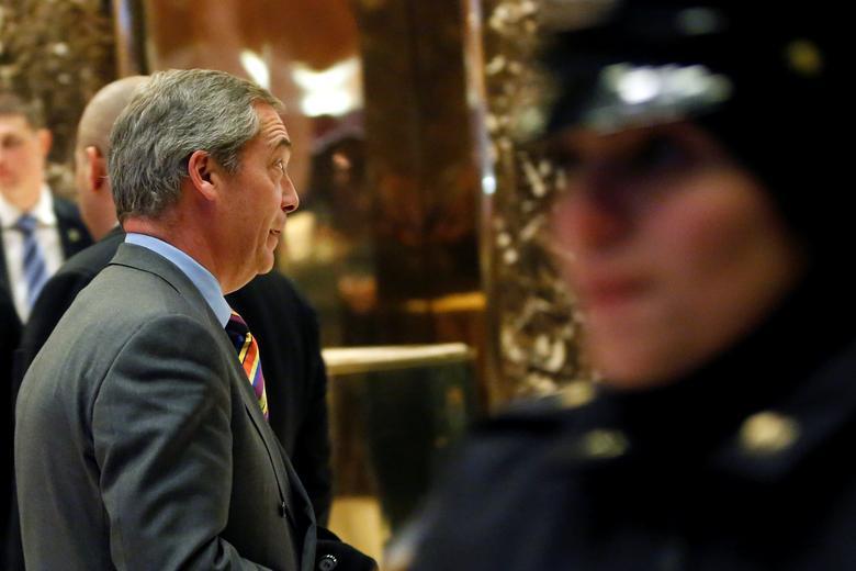 Nigel Farage walks through the lobby of Trump Tower in Manhattan, New York, U.S., December 15, 2016. REUTERS/Shannon Stapleton