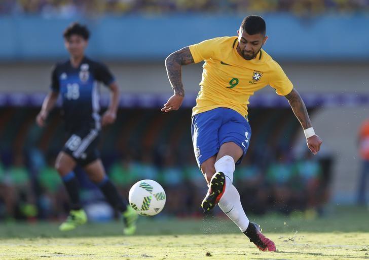 2016 Rio Olympics - Football friendly - Goiania, Brazil - 30/07/2016. Gabriel Barbosa scores. REUTERS/Ueslei Marcelino/Files