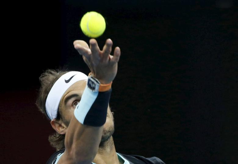 Rafa Nadal of Spain serves to Novak Djokovic of Serbia during the men's singles final match at the China Open Tennis Tournament in Beijing, China, October 11, 2015. REUTERS/Kim Kyung-Hoon  Picture Supplied by Action Images