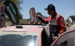 Dakar Rally - 2017 Paraguay-Bolivia-Argentina Dakar rally - 39th Dakar Edition - Second stage from Resistencia to San Miguel de Tucuman, Argentina 03/01/17. Nasser Al-Attiyah of Qatar gestures after driving his Toyota with his co-pilot Matthieu Baumel.  REUTERS/Ricardo Moraes