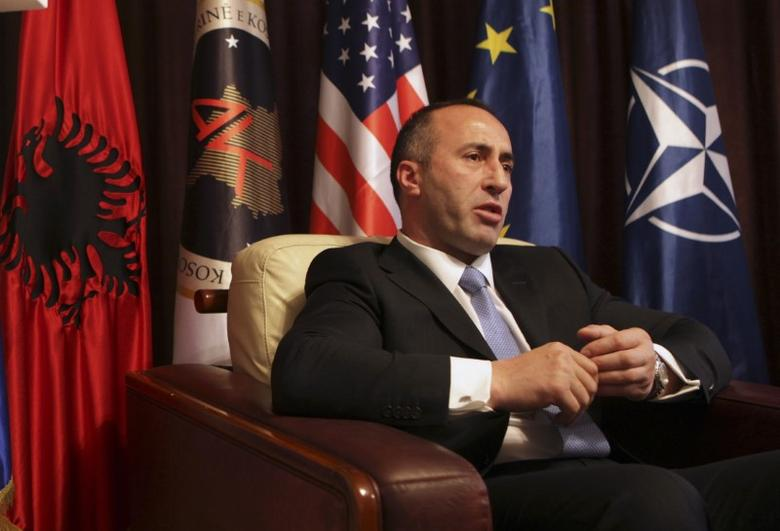 FILE PHOTO - President of the Alliance for the Future of Kosovo (AAK) Ramush Haradinaj, a Kosovo Albanian former guerilla commander who served briefly as prime minister, speaks during an interview with Reuters at the AAK headquarters in Pristina December 4, 2012.  REUTERS/Hazir Reka