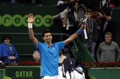 Tennis - Qatar Open - Men's Singles - Novak Djokovic of Serbia v Radek Stepanek of Czech Republic - Doha, Qatar - 5/1/2017 - Djokovic celebrates after winning. REUTERS/Ibraheem Al Omari