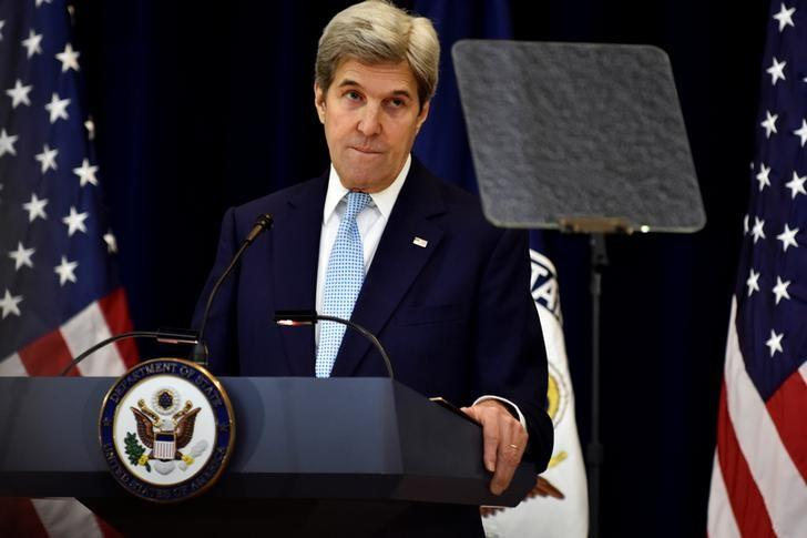U.S. Secretary of State John Kerry delivers remarks on Middle East peace at the Department of State in Washington December 28, 2016. REUTERS/James Lawler Duggan