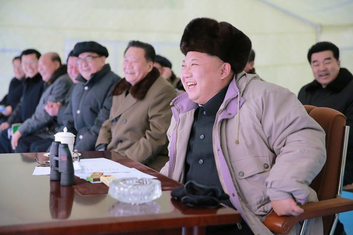 North Korean leader Kim Jong Un watches the Masikryong ski competition-2016 in this undated photo released by North Korea