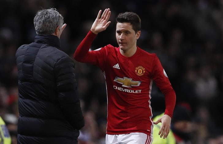 Britain Soccer Football - Manchester United v Sunderland - Premier League - Old Trafford - 26/12/16 Manchester United manager Jose Mourinho and Ander Herrera  Action Images via Reuters / Lee Smith Livepic