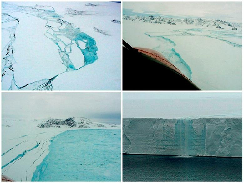 FILE PHOTO: A combination of aerial photographs taken in February and March 2002 of parts of the Larsen B shelf in the Antarctic show different aspects of the final stages of the collapse. The pictures show (clockwise from top L) the shelf breaking up near Foca Nunatak, a rift in the ice sheet near Cape Desengano, a cascade of water from melting ice nearly 30 meters high along the front of the shelf, and the new front edge of the shelf breaking up near Cape Foyn. REUTERS/Stringer/File Photo