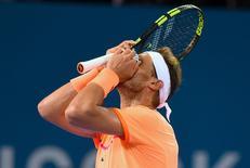 Tennis - Brisbane International - Pat Rafter Arena, Brisbane, Australia - 6/1/17 - Spain's Rafael Nadal reacts during his match against Canada's Milos Raonic. REUTERS/Steve Holland