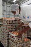 Un trabajador selecciona huevos en una fábrica en Ambato, Ecuador, nov 21, 2016. Ecuador acumuló una inflación de 1,12 por ciento en el 2016, una cifra por debajo de la meta prevista por el Gobierno y la más baja desde que el presidente Rafael Correa asumió el cargo en el 2007, informó el viernes la agencia oficial de estadística.   REUTERS/Guillermo Granja