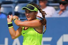 Aug 31, 2016; New York, NY, USA; Lauren Davis of the United States returns a shot to Elina Svitolina of Ukraine on day three of the U.S. Open tennis tournament at USTA Billie Jean King National Tennis Center. Mandatory Credit: Anthony Gruppuso-USA TODAY Sports  / Reuters  Picture Supplied by Action Images *** Local Caption *** 2016-08-31T160352Z_462152083_NOCID_RTRMADP_3_TENNIS-U-S-OPEN.JPG