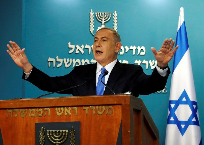 FILE PHOTO - Israeli Prime Minister Benjamin Netanyahu delivers a speech in his Jerusalem office December 28, 2016. REUTERS/Baz Ratner/File