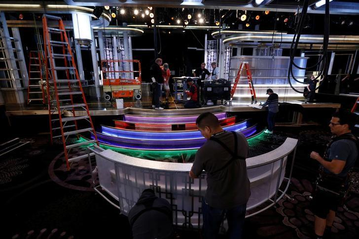 The stage is built during preparations for the 73rd Annual Golden Globe Awards in Beverly Hills, California U.S., January 4, 2017.   REUTERS/Mario Anzuoni