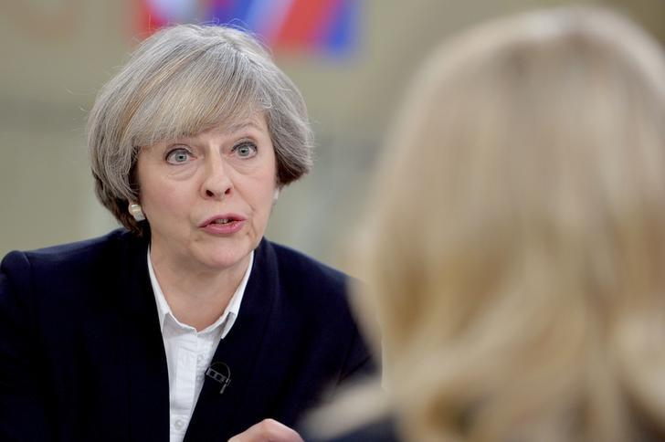 Britain's Prime Minister Theresa May (L) is interviewed by Sophy Ridge on Sky News, during the Ridge on Sunday programme, in London, Britain January 8, 2017. REUTERS/John Stillwell/Pool