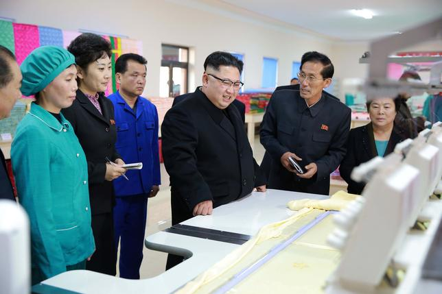 North Korean leader Kim Jong Un visits a quilt production factory in this undated photo released by North Korea's Korean Central News Agency (KCNA) January 9, 2017. REUTERS/KCNA
