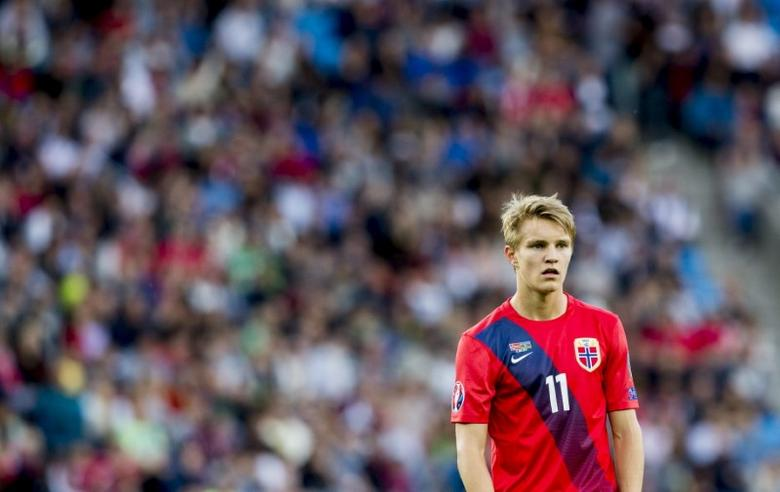 Norway's Martin Odegaard reacts during their Euro 2016 Group H qualifying soccer match against Azerbaijan in Oslo June 12, 2015. REUTERS/Vegard Wivestad Grott/NTB Scanpix/Files