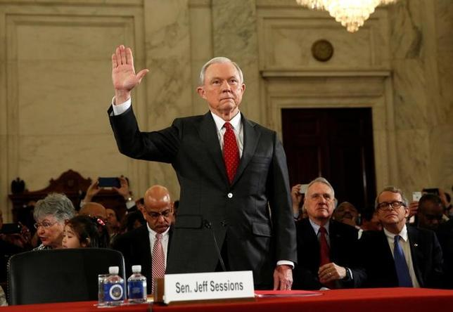 U.S. Sen. Jeff Sessions (R-AL) is sworn in to testify at a Senate Judiciary Committee confirmation hearing to become U.S. attorney general on Capitol Hill in Washington, U.S. January 10, 2017. REUTERS/Kevin Lamarque