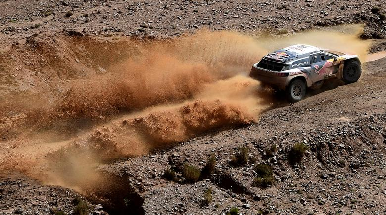 Dakar Rally - 2017 Paraguay-Bolivia-Argentina Dakar rally - 39th Dakar Edition - Eighth stage from Uyuni, Bolivia to Salta, Argentina 10/01/17.  Peugeot's driver Sebastien Loeb and co-driver Daniel Elena of France in action. REUTERS/Franck Fife/Pool