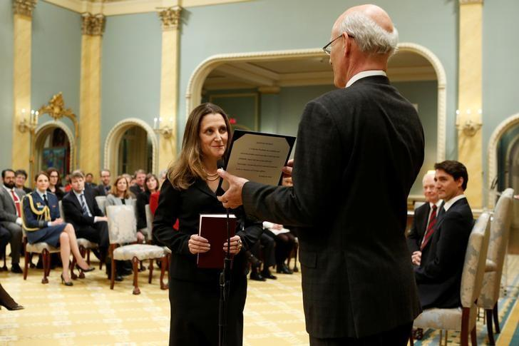 Chrystia Freeland is sworn-in as Canada's foreign affairs minister during a cabinet shuffle at Rideau Hall in Ottawa, Ontario, Canada, January 10, 2017. REUTERS/Chris Wattie