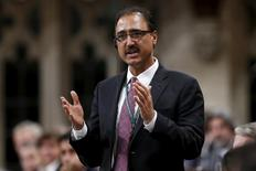 Canada's Infrastructure and Communities Minister Amarjeet Sohi speaks during Question Period in the House of Commons on Parliament Hill in Ottawa, Canada, December 8, 2015. REUTERS/Chris Wattie