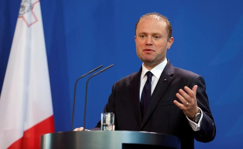 Malta's Prime Minister Joseph Muscat addresses a news conference after talks with German Chancellor Angela Merkel at the chancellery in Berlin, Germany, November 29, 2016. REUTERS/Hannibal Hanschke/Files